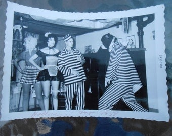 VTG Original Photo Snapshot Adult Halloween Costume Party 1950