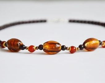 Garnet, quartz and Murano style glass beads necklace , 45cm