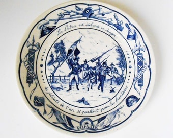 Antique French plate on the theme of the fatherland in danger in year II