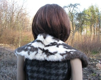 Vintage fur COLLAR real rabbit fur spotted fur