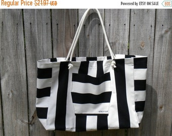 NOW ON SALE Ready to ship!! Black and white stripe large beach bag, tote bag, canvas bag