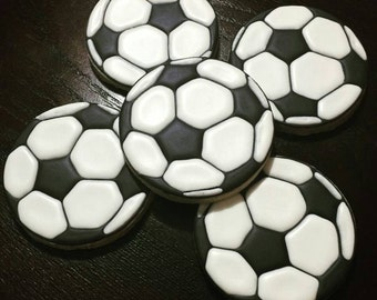 Black and White Soccer Ball Cookies - One Dozen (12)