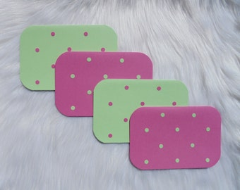 Pink and Green Polka-Dot Notecards - Package of 4