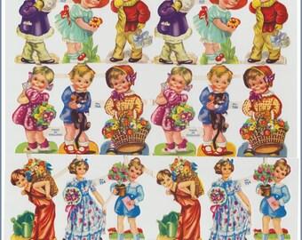 Original vintage die-cut paper scraps - Boys and Girls