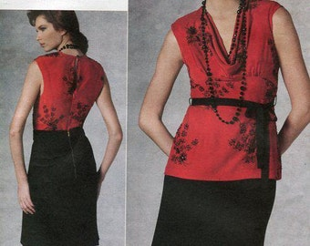 Free Us Ship Vogue 1203 Sewing Pattern American Designer Tracy Reese Top Skirt Draped Dress Size 14 16 18 20  Bust 36 38 40 42 plus size