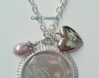 I Miss You Necklace, Heart Necklace, Love Necklace, Silver Necklace