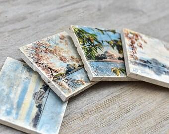 Washington DC Coasters, Set of 4, DC Photo Coasters, Washington, DC Photography, Four Seasons Photographs, Home Decor