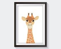 Nursery Giraffe Cartoon Print - Cute Modern Baby Artwork - Instant Digital Download - Animal Theme Art - Simple and Classy Safari Character