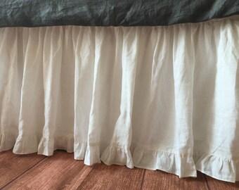 white linen bed skirt with ruffle hem white dust ruffles linen dust ruffles - Dust Ruffles