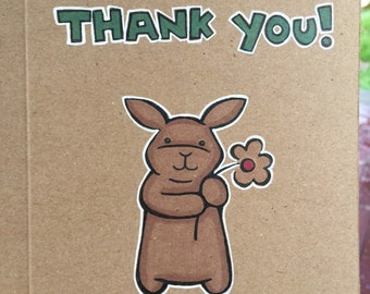 """Hand drawn 7x5"""" Bunny card on recycled paper, Thank you!"""