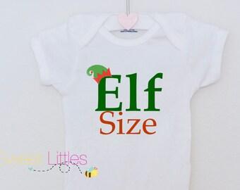 Elf Size Christmas Onesie/HTV/Newborn Onesie/Baby Clothes/Personalized Onesie/Funny Onesie/Baby Shower/ Bodysuit/Christmas Onesie/Christmas