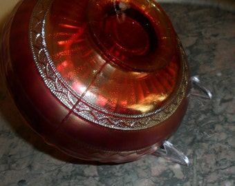 Antique Fenton Carnival Glass Red ''STIPPLED RAYS'' with Scale Band Exterior Bowl - Red Carnival Glass - Collectible Art Glass - Vintage(210