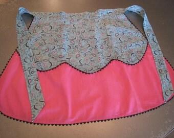 Vintage Aqua Pink Hostess Apron Pocket Rick Rack Paisley Scalloped