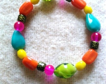 Multi-Coloured Bohemian Stretch Beaded Bracelet