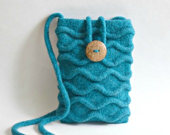 Ocean Blue Waves Felted Purse