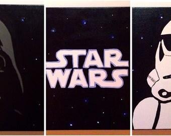 Star Wars Painting | Darth Vader Painting | Set of 3