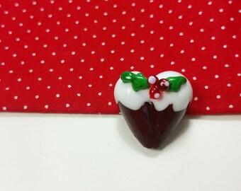 SALE - Christmas Pudding - Glass Christmas Pudding - Lampwork Beads - Figgy Pudding - Christmas Pudding - Festive Beads -UK - January Sale