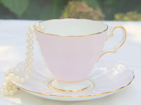 Vintage Grosvenor Porcelain Pink Cup and Lavender Saucer, Numbered, England