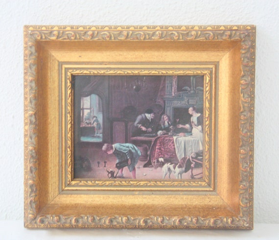 RESERVED FOR JASMINE Vintage Small Gold Wooden Frame with Painting Print