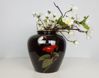 Vintage Otagiri Japanese Ceramic Vase, Black Red Green Gold Vase, Hummingbird Pattern, Asian Home Decor, Black Gold Decor, Otigiri Gibson