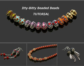 Itty-Bitty Beaded Beads - Earrings, Bracelet, Necklace - PDF beading pattern