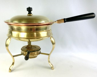 Antique Brass Copper Buffet Server Chafing Dish Food Warmer Chafer S Sternau