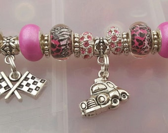 Racing Bracelets in pinks and greens