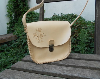 flap leather satchel handmade convertible with ground ginkgo biloba
