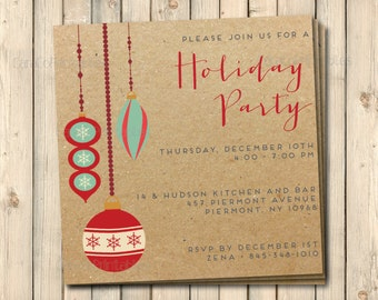 Christmas or Holiday Party Invitation, Christmas Ornaments and Kraft Paper, Printable File, 5.25x5.25 square Invitation, Custom invitation
