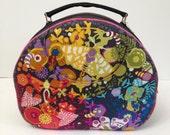 Custom listing for Coretta SALE - Olive Retro style handbag - Gorgeous Alison Glass Ex-Libris fabrics - Art Theory in charcoal and Tula Pink