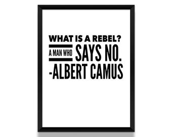 Albert Camus, Albert Camus Poster, Rebel Quote, Literature Poster, Literary Gift