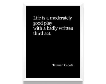 Truman Capote Poster, Black and White Poster, Truman Capote Quote, Literature Poster, Literary Gift