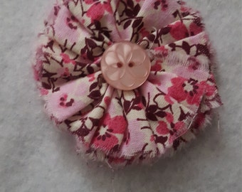 Pink Fabric Flower Clip