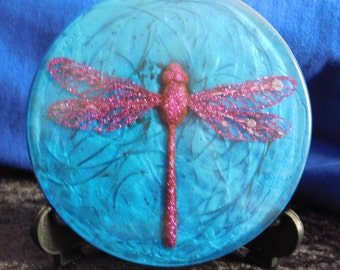purple dragonfly in resin