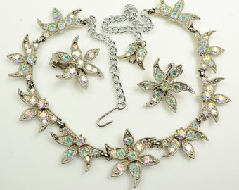 Sparkling Set—AB-coated Rhinestone Necklace and Earrings