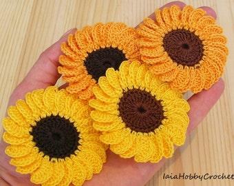 Crochet Sunflower, crochet flowers, Sunflower applique
