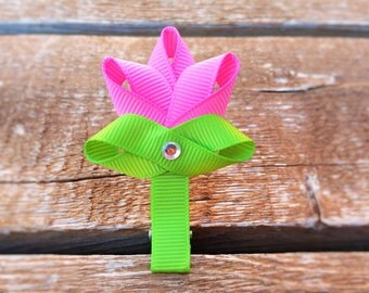 Spring Cute Flower Hair Clip / No Slip Clip / Fully Lined Hair Clip / Ribbon Sculptured Flower / Hot Pink Tulip / Adorable Hair Clip