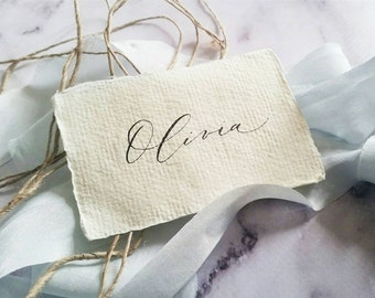 Organic modern calligraphy placecards / escort cards / name cards/ bouquet tags on handmade paper