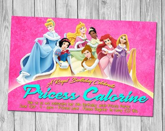 All Disney Princess Birthday Party Invitation, Princess Birthday Party Invitation