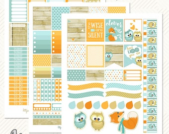 Printable planner stickers.EC planner kit,Fox and owls stickers,January stickers set,Wood blue orange beige,