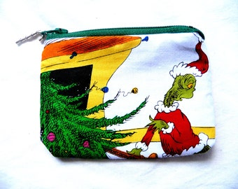 coin purse with Grinch made from Grinch fabric