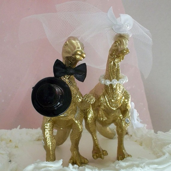 gold cake toppers items similar to dinosaur wedding cake topper gold 4525