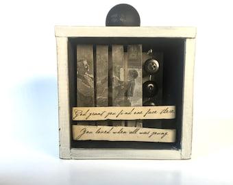 Vintage Charm Shadowbox Art - Charles Kingsley Poetry Shadowbox