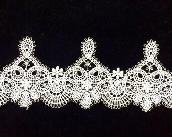 White Venice Lace Trim,,Flower Lace Trim for Costume Desige,headband Price per 1 Yard