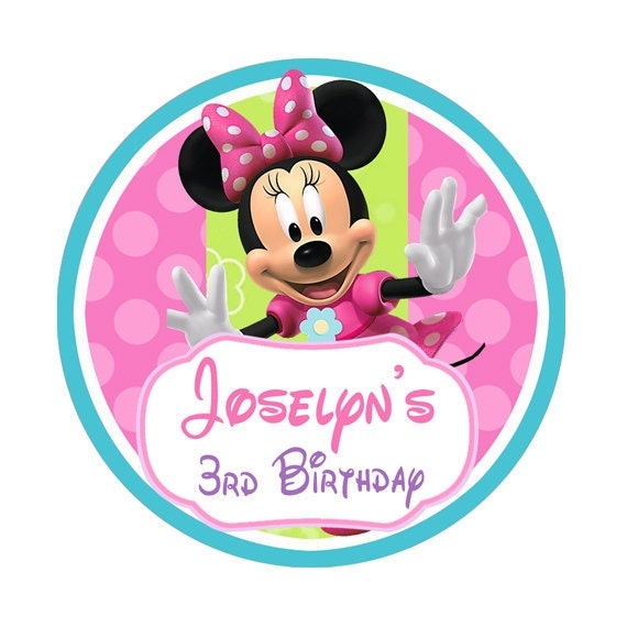 minnie mouse bowtique birthday stickers party favor
