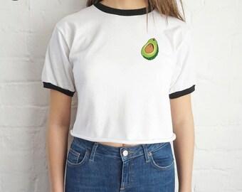 Avocado Pocket Crop Ringer Top Shirt Tee Cropped Fashion Blogger Vegan Vegetarian