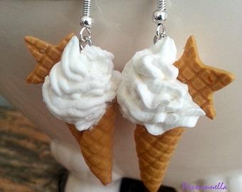 Boucles d'oreilles glaces italiennes avec gauffrettes en polymère.