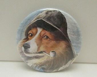 Pocket Mirror, Purse Mirror, Tecre Mirror, Cosmetic Mirror, Dog Mirror, Dog Pocket Mirror, Captain Dog, Sailor Dog, Dog with Pipe