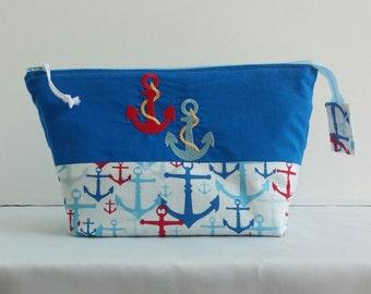 Nautical Zippered Bag * Nautical Makeup Bab * Nautical Zippered Pouch * Anchor Pouch * Bags * Organizer * Anchor Zippered Bag * Unique Gift