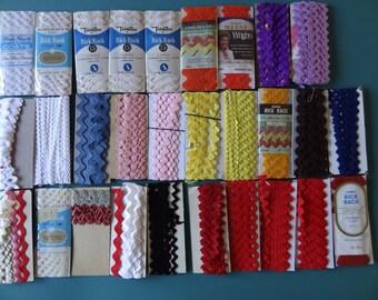 Vintage Rick Rack, J & P Coats, Wrights, Trimtex, Jumbo, medium and small size, variety of colors